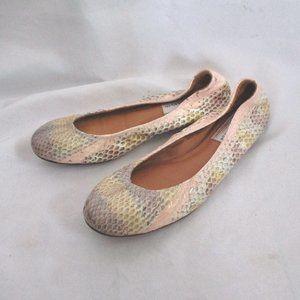 NEW LANVIN Leather Classic PYTHON Ballet Flat Shoe